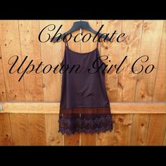 New Top Extender Chocolate shirt extender. 22 inches from the armpit down to the bottom of the lace. Adjustable straps, top is stretchy. You choose the size S/M, L, XL, 2XL, 3XL message me and tell me what size you need please Uptown Girl Co Tops Camisoles