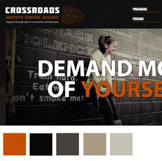 Crossroads Adaptive Athletic Alliance is an interactive, collaborative, searchable network and community that provides tips and best practices to adaptive athletes and their coaches. Website Color Schemes, Colour Schemes, Web Design Inspiration, Design Ideas, Web Design Color, Create Color Palette, Web Colors, Colour Palettes, Branding