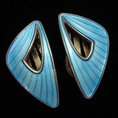 Blue Earrings Vintage Sterling Silver Enamel Clips Ivar Holt Norway   eBay