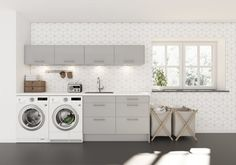 Design by paperroom Laundry In Bathroom, Small Bathroom, Laundry Rooms, Industrial Machine, Stacked Washer Dryer, Washing Machine, Building A House, Kitchen Decor, Sweet Home