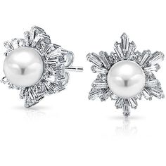 Bling Jewelry White As Snow Pearls ($37) ❤ liked on Polyvore featuring jewelry, earrings, stud-earrings, white, white jewelry, pearl earrings jewellery, stud earrings, snowflake earrings and earrings jewelry