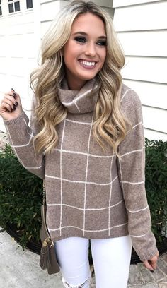 windowpane turtleneck sweater