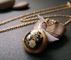 sakura petite . kanji . asian inspired locket necklace.via Etsy.