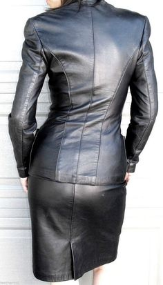 From NORTH BEACH - here is beautiful tailored jacket and matching skirt  done in smooth black leather - beautiful styling. LEATHER JACKET and SKIRT  - fits ...