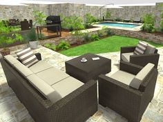 Backyard designer design create and visualize outdoor areas with roomsketcher Modern Backyard Design, Large Backyard Landscaping, Small Backyard Design, Small Backyard Landscaping, Backyard Garden Design, Patio Design, Backyard Ideas, Patio Ideas, Garden Design Software