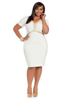 1a6d7e8ad86 Ashley Stewart Women s Plus Size Ponte Elbow Sleeve Dress Double Cream 12