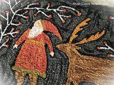 Brush Creek Needlework Rug Hooking Designs, Rag Rug Tutorial, Leftover Fabric, Punch Needle, Rug Making, Fabric Scraps, Primitive, Needlework, Deer