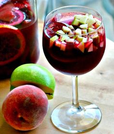 Fruity Sangria: This simple sangria requires some patience, but minimal effort. If served at a party, guests will delight in nibbling on the wine-flavored apple and pear chunks remaining in their cups after their sangria has vanished.