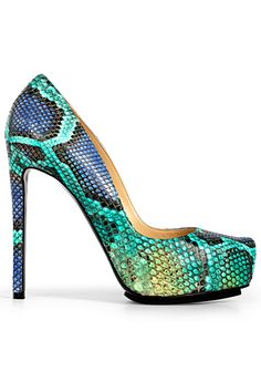 Burak Uyan Multicolor Green & Blue Snakeprint Stiletto Pumps Spring Summer 2014 #Shoes #Heels