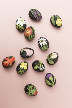 easter eggs with botanical illustrations