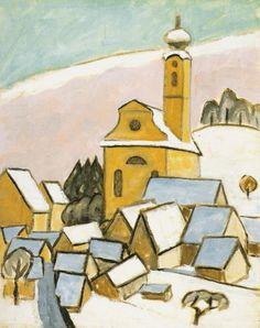 Gabriele Münter (1877-1962)Terug in Berlijn maakt Münter kennis met de filosoof en kunsthistoricus Johannes Eichner, met wie ze rest van haar leven samenblijft. In deze periode pakt ze het schilderen weer definitief op. Opnieuw volgt een verblijf van een jaar in Parijs, met aansluitend een reis met Eichner door Zuid-Frankrijk. In 1931 vindt ze dan toch tijdelijk rust in Murnau en hervat ze de expressionistische werkwijze uit haar vroege periode.