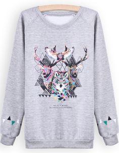 Geometric Animal Crewneck Sweatshirt