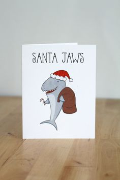 Santa Jaws. Shark. Christmas. XMas. Pun. by ClaireLordonDesign, $4.00 More