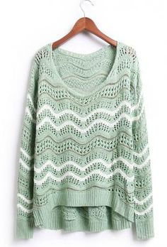 First Impressions Ripple Pattern Crochet Sweater in Pastel Green | Sincerely Sweet Boutique