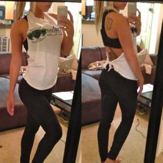 """blondevsworld: """" First photo inspired some peeps to ask for a 'how-to' on the classy gym shirts that I create. So here ya go. Second photo: back stencil—make sure you turn the shirt inside out before. Cut Workout Shirt, Workout Shirts, Cut Up T Shirt, Cut Tees, Do It Yourself Fashion, Clothes Crafts, Diy Gym Clothes, Gym Shirts, T Shirt Diy"""