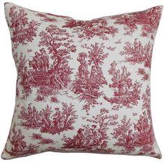 """One Allium Way Leflore Cotton Toile Throw Pillow Color: Maroon White, Size: 18"""" H x 18"""" W"""