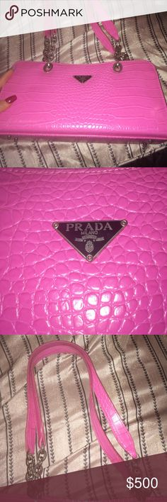 Handbag Pink Prada handbag, leather & chain strap. Prada Milano DAL 1913, bought it, worn once & didn't really care for it, good condition. Prada Bags Shoulder Bags
