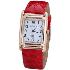 Fashionable Quartz Watch with Analog Indicate Leather Watch Band for... ❤ liked on Polyvore featuring jewelry, watches, leather wrist watch, red watches, quartz watches, red jewellery and quartz wrist watch