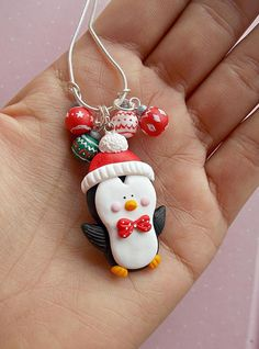 Christmas Necklace Penguin Necklace Christmas Jewelry