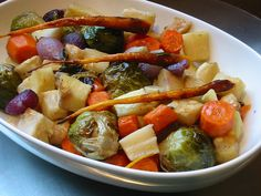 Roasted Root Vegetables with Rosemary - Dulcedo  http://dulcedoblog.blogspot.com/2008/10/roasted-root-vegetables-with-rosemary.html