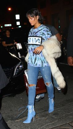 It's a Denim Party… Rihanna was spotted last night in NYC rocking$2,435 Rihanna x Manolo Blahnik Dancehall Cowgirl Jewel Denim Booties. The light blue denim lace-up ankle boots feature…