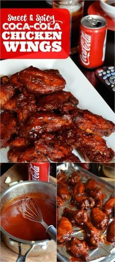 Bake up a batch of these easy Sweet & Spicy Coca-Cola Chicken Wings made with an easy homemade Coca-Cola BBQ sauce. Bake up a batch of these easy Sweet & Spicy Coca-Cola Chicken Wings made with an easy homemade Coca-Cola BBQ sauce. Coca Cola Chicken Wings, Sauce For Chicken Wings, Sweet And Sour Chicken Wings Recipe, Chiken Wings, Chicken Wing Sauces, Sweet And Spicy Chicken, Sweet Chilli, Baked Chicken, Chicken Recipes