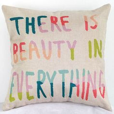 Beauty In Everything Letters Sofa Bed Pillow Case ==