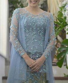 An elegant fiance dress reference - Modern Wedding Kebaya Lace, Kebaya Hijab, Kebaya Brokat, Batik Kebaya, Kebaya Dress, Dress Pesta, Kebaya Muslim, Dress Brukat, Lace Dress