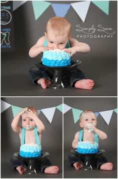 1 Year Old Boy Photo Shoot Ideas & Poses - Cake Smash - Home Studio - Billings, MT Family & Child Photographer