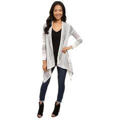 Billabong Beach Ramblin Cardigan (Pearl) Women's Sweater ($46) ❤ liked on Polyvore featuring tops, cardigans, pocket cardigan, long sleeve tops, long sleeve cardigan, white top and long sleeve open front cardigan