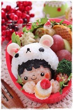Kawaii Rilakkuma Bear Girl Kyaraben Bento Lunch :)