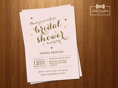 Pink Gold Bridal Shower Invitation by LittlePinkBowDesigns on Etsy