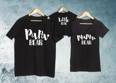 Papa Bear+Mama Bear+Baby Bear Set of 3 Black, Papa&Mama Bear V-Neck T-shirt, Baby Bear Bodysuit or T shirt, Baby shower gift