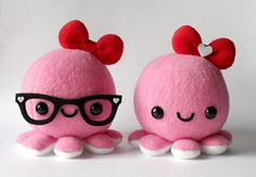 Pink Valentine Octopus Plush w/ Red Heart Bow by cheek and stitch #cute