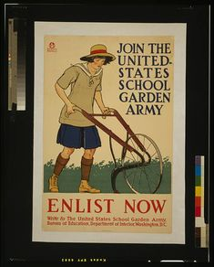 Shop Vintage Enlist U. School Garden Army Poster Art created by postershoppe. Personalise it with photos & text or purchase as is! Vintage Advertisements, Vintage Ads, Vintage Posters, Vintage Photos, Retro Posters, Vintage Food, Funny Vintage, Retro Ads, Vintage Clip