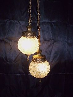 Vintage Mid Century Pressed Clear Glass Globes Swag Light Ceiling Gold Fixture | eBay