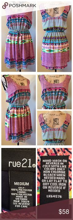 "⬇️💰RUE 21 Multicolored Sundress EUC Cute RUE 21 Multicolored Print Sundress, Sleeveless Dress Excellent Pre-Owned Condition; No Stains, Tears, Piling, Etc. Multicolored Print, Fully Lined, Elastic Waist And Tie Front  Size: Medium  Measurements Without Stretching  Armpit To Armpit: 18"" Length: 33"" (From Top Of Shoulder) Material: 100% Polyester  Smoke Free Home Rue 21 Dresses Mini"