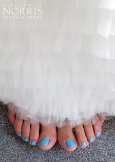 "Pretty blue toes gave this bride her ""something blue!""  Wedding Photography by Christopher Norris Photographers - Cleveland"