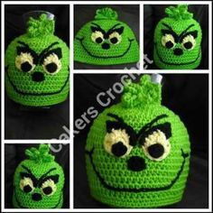 Crochet grinch hat. I <3 the grinch.