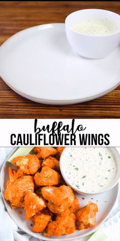 football food These gluten free and dairy free cauliflower buffalo wings in the oven are a perfect healthy appetizer. They have a thick layer of breading, are soaked in sweet and spicy buffalo sauce and dipped in a paleo ranch you can whip up in minutes. Dairy Free Appetizers, Healthy Appetizers, Appetizer Recipes, Healthy Recipes, Vegetarian Recipes Dairy Free, Dairy Free Dips, Dairy Free Sauces, Paleo Dairy, Healthy Dips