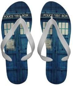 Doctor Who Tardis Photo Flip Flops