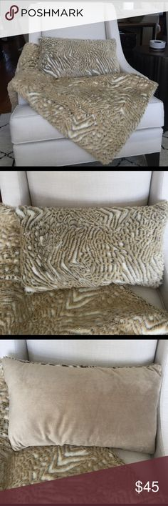 Animal print fuzzy throw and pillow Beautiful throw and pillow. We redecorate often and this was only in the mix for a little while in our untouched living room! Please keep in mind with offers I will be paying more for shipping since this is a large item. Bought at QVC Other