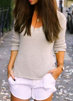 White silk shorts with sweater