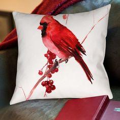 Found it at Wayfair - Cardinal Bird Cotton Throw Pillow