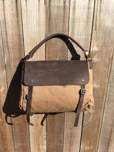Waxed Canvas and Leather Messeneger Bag
