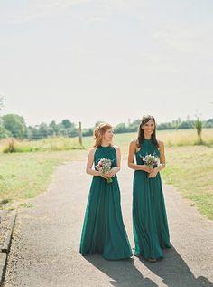 Long emerald green bridesmaids dresses with halter top
