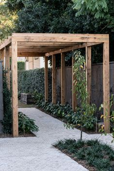 The wooden pergola is a good solution to add beauty to your garden. If you are not ready to spend thousands of dollars for building a cozy pergola then you may devise new strategies of trying out something different so that you can re Backyard Pergola, Pergola Shade, Pergola Plans, Backyard Landscaping, Outdoor Pergola, Pergola Kits, Backyard Landscape Design, Oasis Backyard, Landscaping Around House