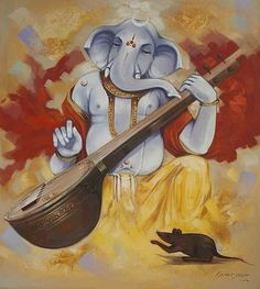 Ganesha painting - Anthropomorphism used to depict the gods was commonly done in various ancient civilizations. Ganesha Sketch, Ganesha Drawing, Lord Ganesha Paintings, Ganesha Art, Krishna Painting, Krishna Art, Hindus, Dancing Ganesha, Ganesh Images