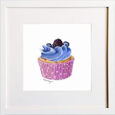Black and Blueberry Cupcake Print Blueberry Cupcakes, Irish Design, Framed Prints, Art Prints, Pigment Ink, Colour Schemes, Watercolor Paper, Wooden Frames, All The Colors