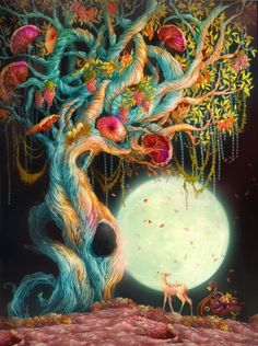 Psychedelic: deer in the woodland , full moon, wonder , mind trips